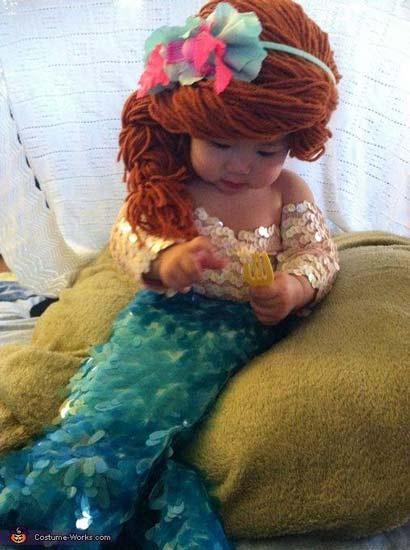 disfraz hecho a mano para bebé de la sirenita muy original