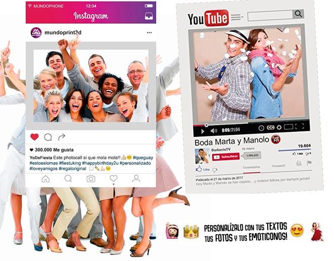 photocall para bodas y celebraciones con forma de marco de youtube o de instagram