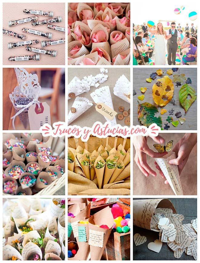manualidades de conos y paquetes para confeti, flores, hojas y arroz para casamientos