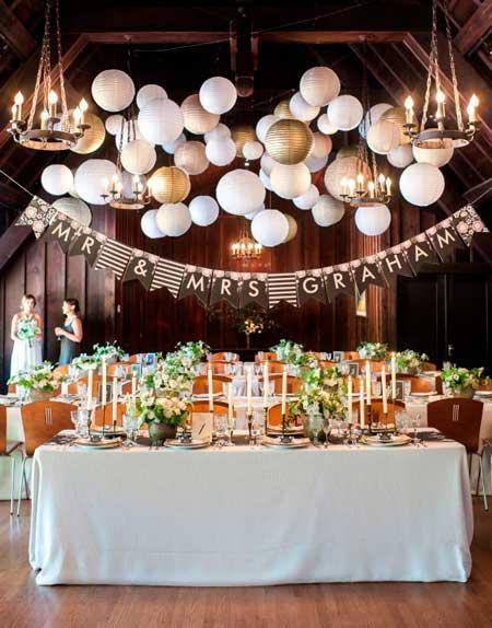 idea de decoración para una boda con pantallas de globo de papel y banderines de saco o yute
