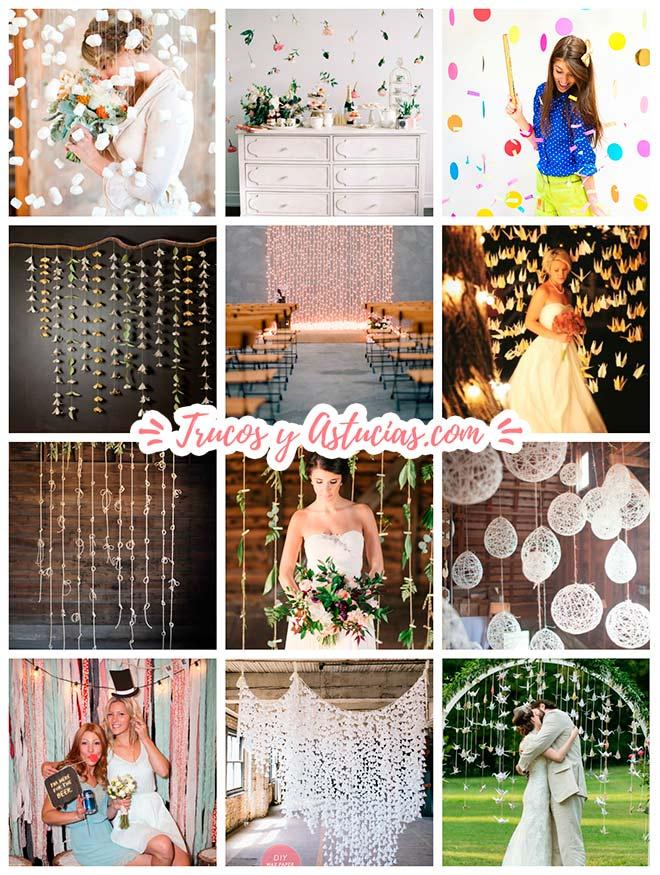 varias ideas de manualidades para hacer cortinas de guirnaldas y cascadas para decorar paredes en bodas y ceremonias nupciales