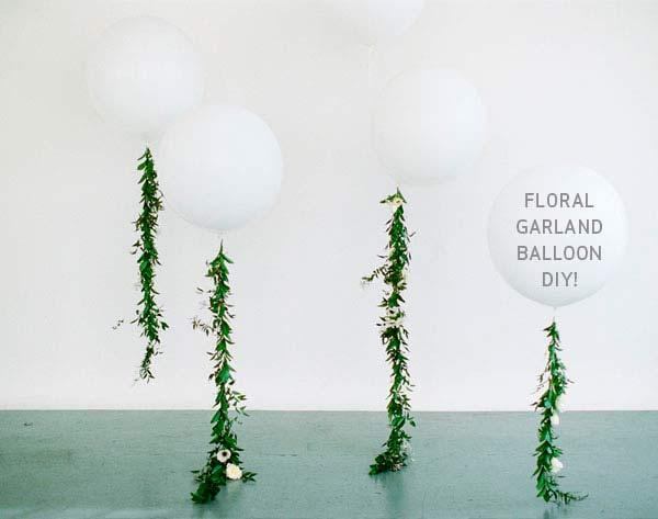 manualidad para hacer una guirnalda para ornamentar una boda, con globos