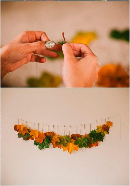 guirnalda hecha con hojas de árbol, ideal como idea para decorar una boda rústica