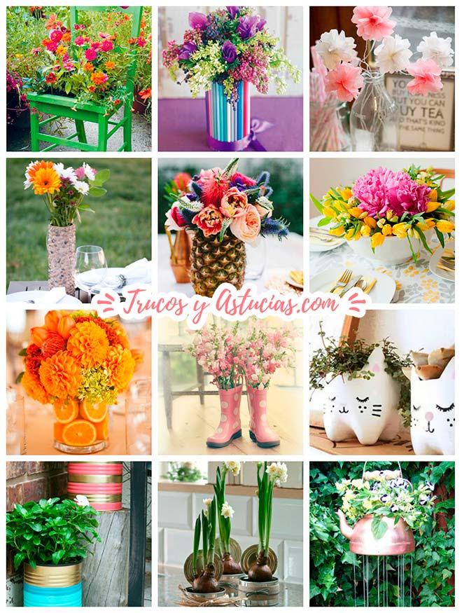 centros de mes jarrones, floreros y macetas hechas con manualidades.
