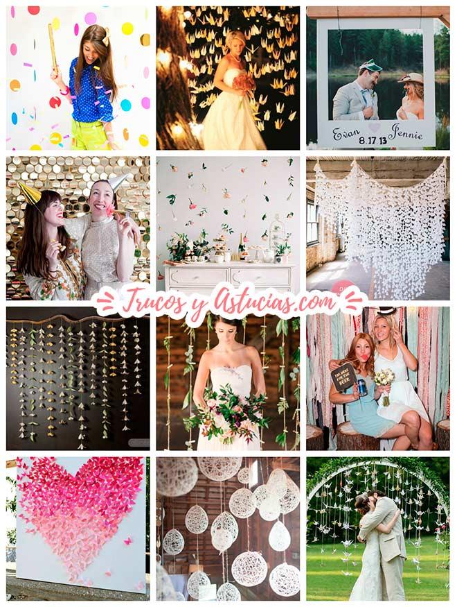 manualidades para adornar y decorar tu boda: cortinas, fondos para candybar, photocall o para el altar de un casamiento diy