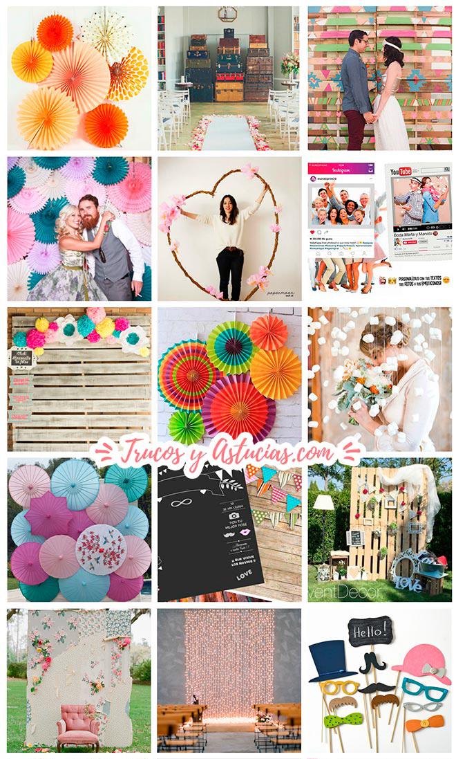ideas para adornar y decorar tu boda: cortinas, fondos para candybar, photocall o para el altar de un casamiento con manualidades diy