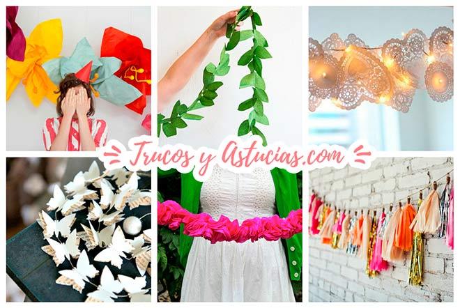 ideas para decorar una boda con guirnaldas y banderines hechos con manualidades