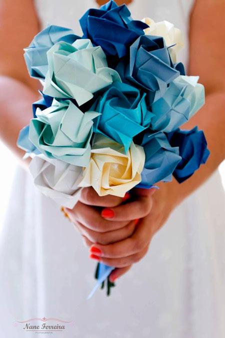 ramo de novia diy con origami y rosas de papel