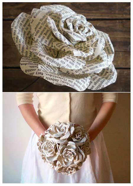 ramo de novia DIY con rosas de papel reciclado, muy bonito y original