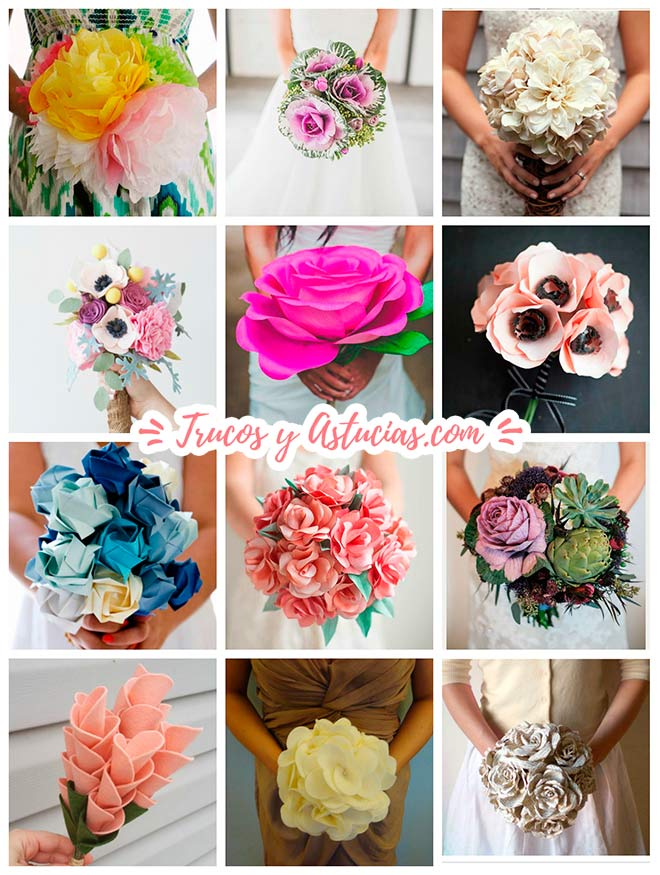ramos para boda y ramos de flores para casamientos con flores de papel, tela o flores silvestres y verduras diy