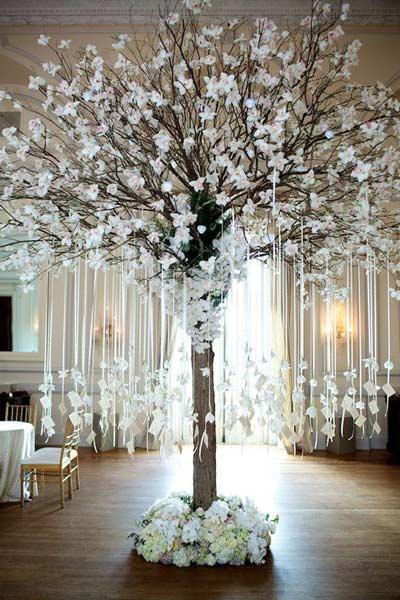arbol decorativo para boda con la distribución de las mesas colgando de sus ramas
