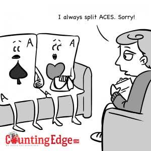 comic sobre la estrategia de blackjack de separar siempre los ases de la misma mano