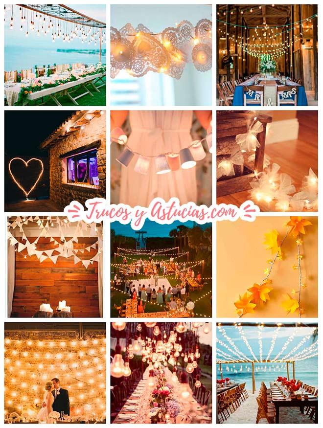 Varias ideas para la iluminación de una boda con guirnaldas de luces