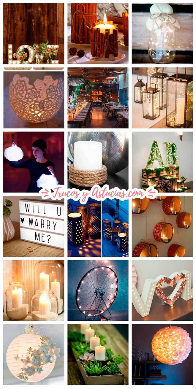 ideas para decorar una boda con lámparas originales hechas con manualidades y otras ideas