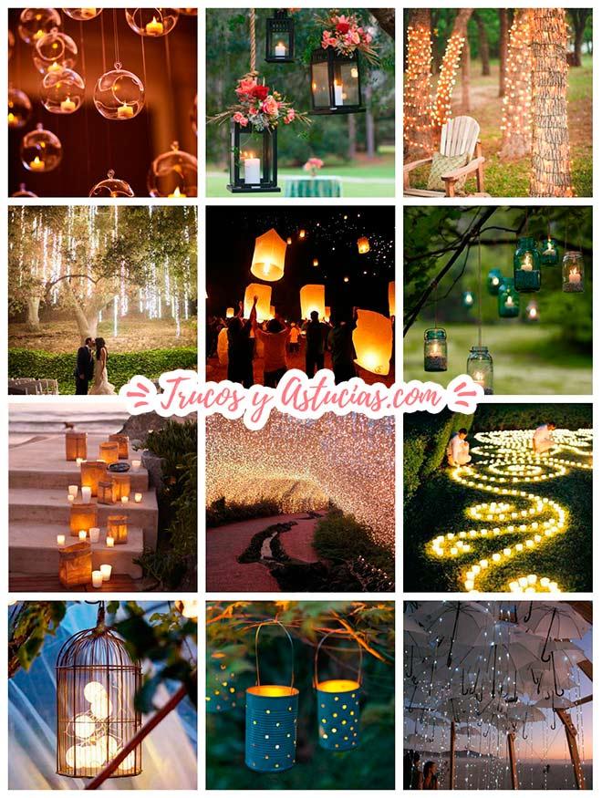 ideas para iluminar una boda exterior en jardín o playa
