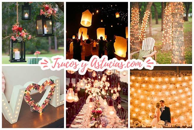 aec34b3feb4 ▷ 40 Ideas de Iluminación para Decorar una fiesta o Boda DIY ...