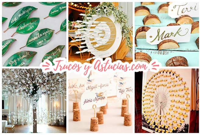 ideas para decorar una boda diy: seating plans de invitados en el banquete y tarjetas marcasitios para bodas