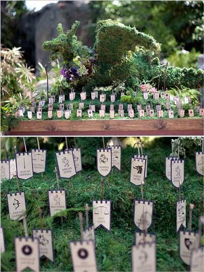 boda temática con seating plan display de juego de tronos