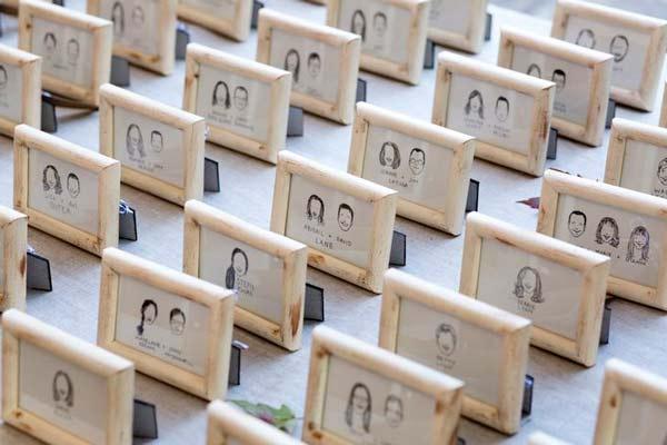 recuerdo de boda y marcasitios para señalizar la mesa de cada invitado con una caricatura de los mismos