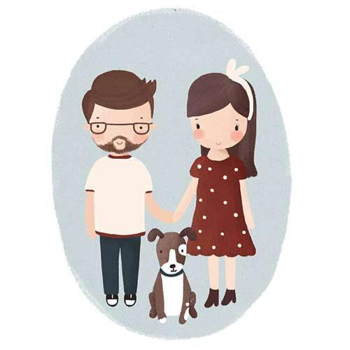 cuadro-ilustracion-retrato-familia-mascota-personalizado
