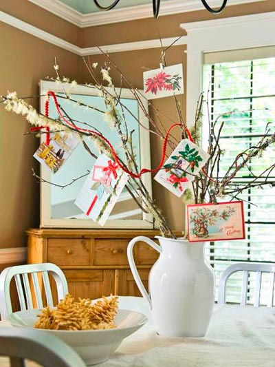 centro de mesa para navidad con ramas y christmas navideños