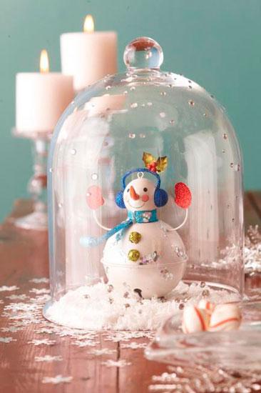 centro navideño diy con un muñeco de nieve