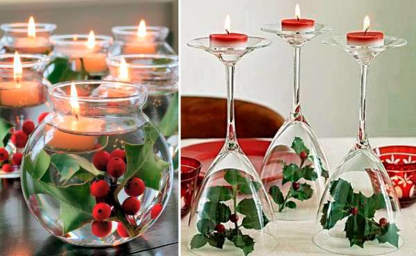 centros de mesa de navidad con muerdago y velas