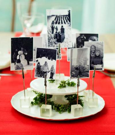 centro para decorar la mesa en navidad con fotos de la familia