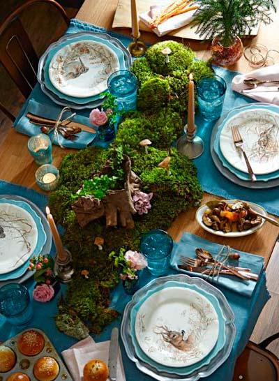 centro de mesa navideño hecho con musgo