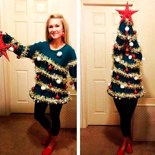 disfraz casero árbol de navidad fácil con un jersey