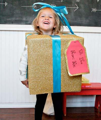 disfraz diy de regalo de navidad, ideal para niños