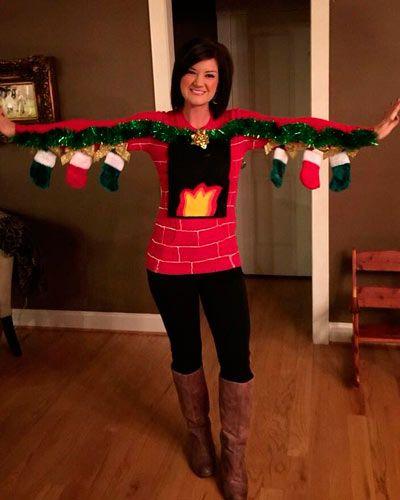 disfraz de chimenea navideña fácil de hacer