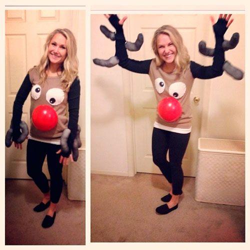disfraz barato y divertido del reno Rudolf