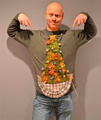 jersey diy con un árbol de navidad con adornos y luces para hombre o mujer