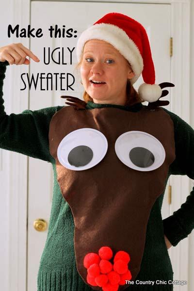 ugly sweater jersey de navidad con el reno rudolf diy