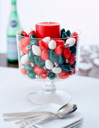 Idea original con vela y bombillas de colores
