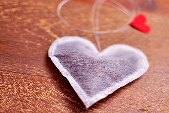 bolsa de té casera hecha con forma de corazón