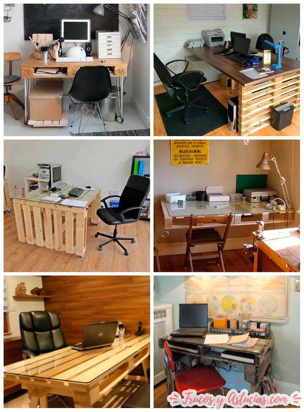mesas de oficina hechas con palets