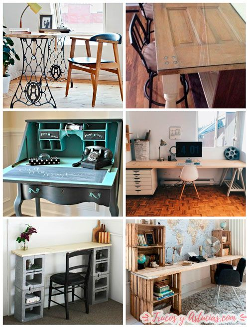 escritorios para casa reutilizando muebles y reciclando materiales