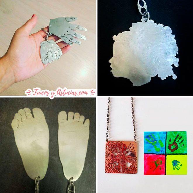 artesania para regalar en el dia de la madre: llavero o joyas con la huella de los pies, manos o silueta de su bebé, hijo o hija, un recuerdo inolvidable