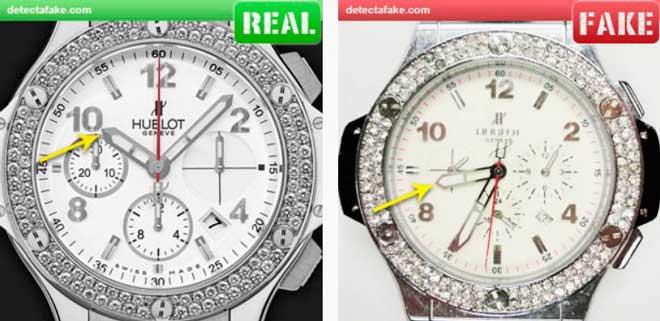 comparación de las agujas de un reloj auténtico hublot y una imitación
