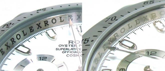 diferencias comparación inscripcion del dial de un rolex auténtico y una imitación