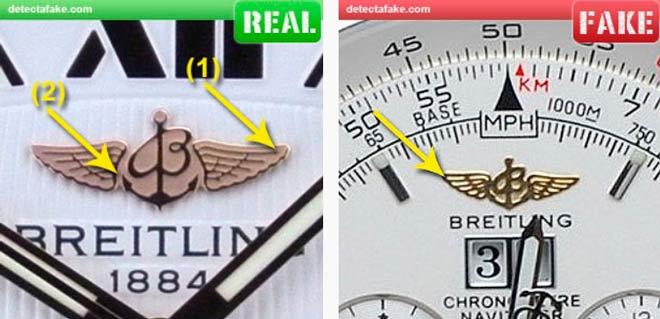 comparación del logotipo de un reloj breitling auténtico y una copia
