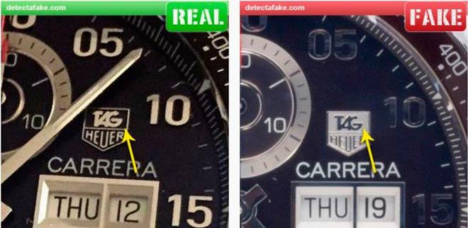 comparación reloj tag heuer auténtico y falso, logotipo del dial