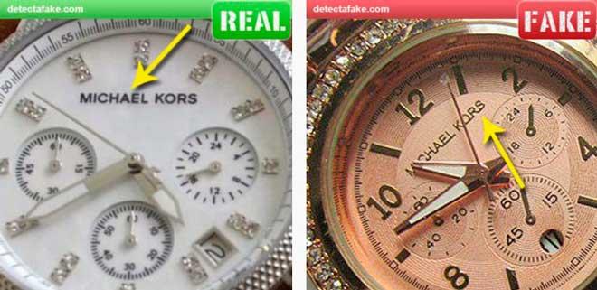 comparación entre el logotipo de un michael kors auténtico y una imitación
