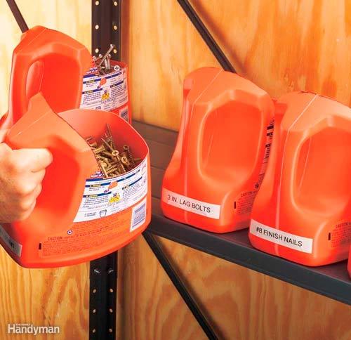 reutilizar botellas de detergente para guardar tornillos