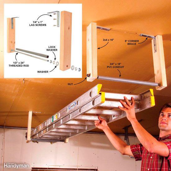 sistema para colgar una escalera en el techo