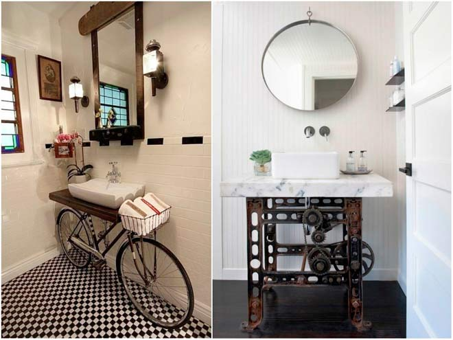 bicicleta reutilizada para decorar un baño de forma original y repurposed