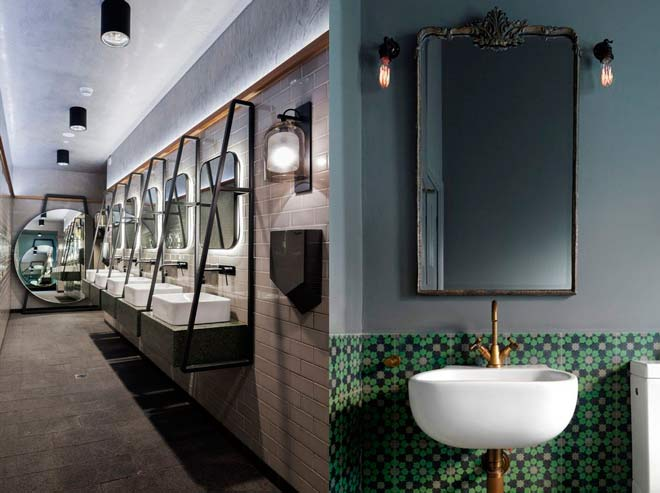 lavamanos de sobre encimera sencillos y elegantes para decorar el baño de un restaurante, cafetería o negocio