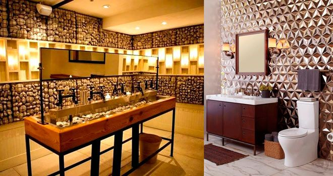 idea de decoracion para baños originales y diferentes en restaurantes, cafeterías y negocios públicos
